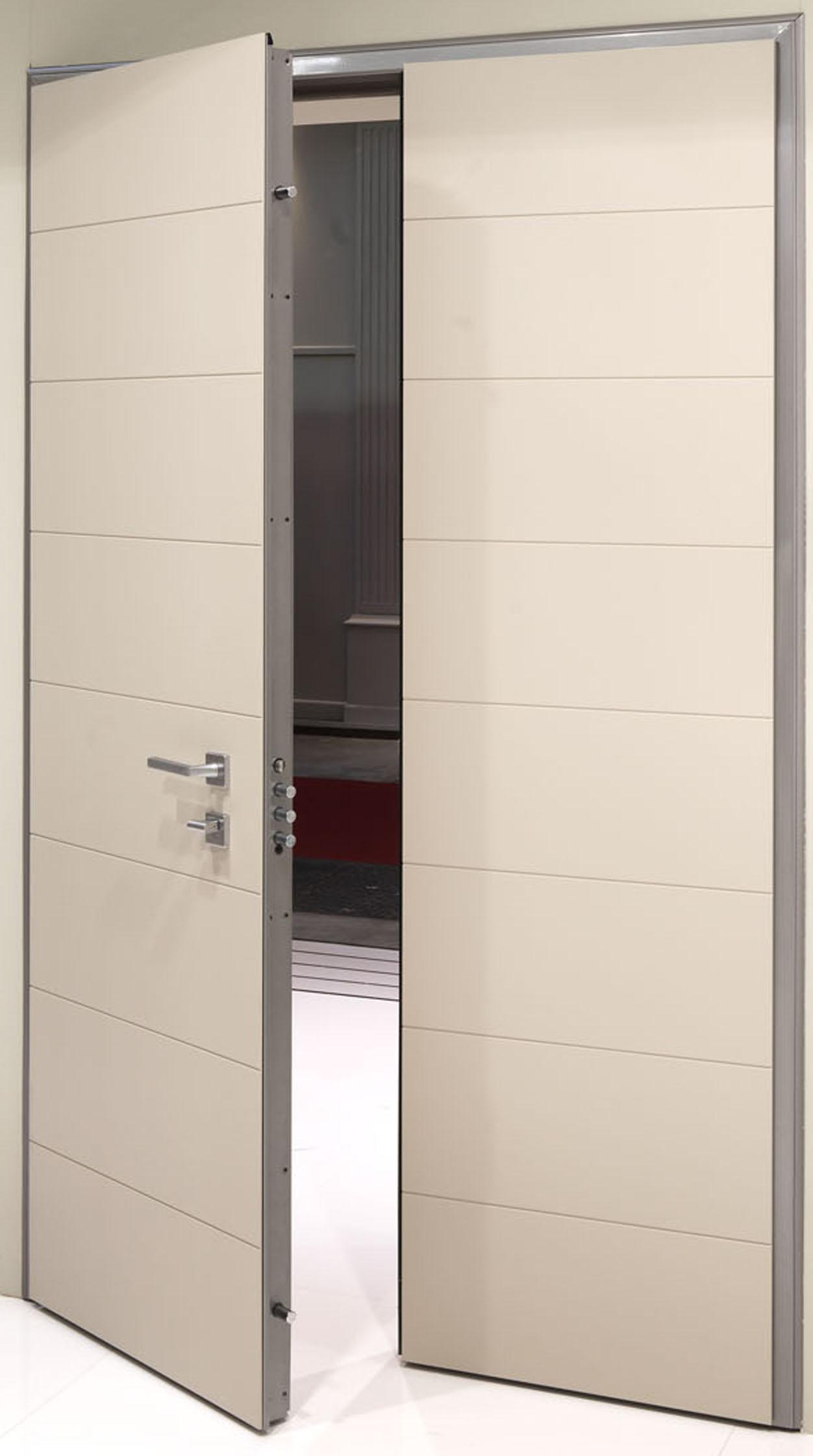 Elegantemente sicura classe 3 nuova raffinata porta blindata a doppio battente serramenti - Porta a doppio battente ...