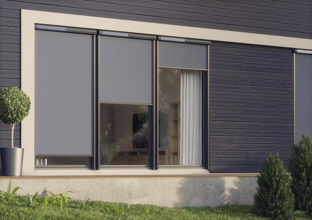 Soluzione ombreggiante esterna per finestre verticali. Nuova tenda parasole - Serramenti+design