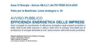 Regione Basilicata. Riaperti termini per partecipazione bando Efficienza Energetica Imprese