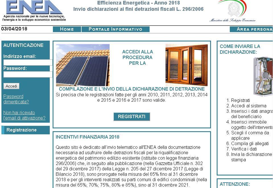 ... Lu0027invio Dati Relativi Agli Interventi Di Efficienza Energetica Ammessi  Alle Detrazioni Fiscali (dal 50% Allu002785%) E Conclusi Dopo Il 31 Dicembre  2017.