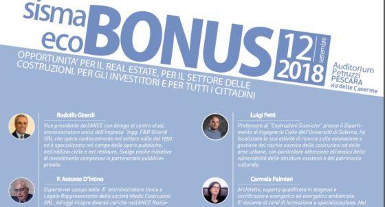 Locandina Convegno eco e sisma bonus in programma a Pescara il 12 settembre