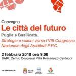 Locandina del convegno le citta del futuro che si svolgerà a bari domani 2 febbraio 2018