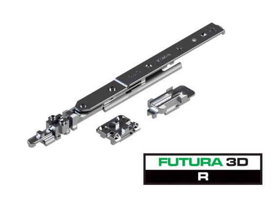 L'anta ribalta FUTURA 3D R per sistema ERRE 40 si completa con la microventilazione di serie ed i componenti per doppia anta