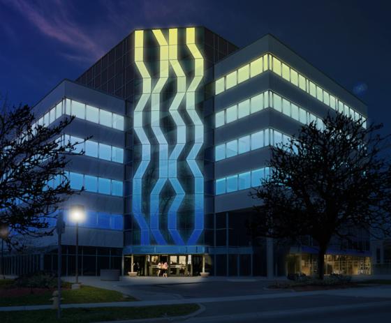 All'edizione 2018 di Light + Building di Francoforte AGC presenterà Glassiled Uni, la sua nuovissima doppia vetrata con led integrati per illuminare le facciate in modo uniforme