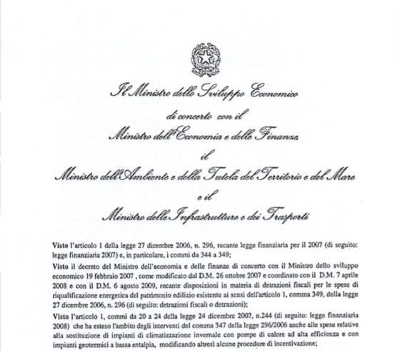 frontespizio della bozza di decreto tecnico ministeriale