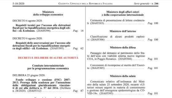 Pubblicati in GU i decreti MiSe. Superbonus 110% operativo