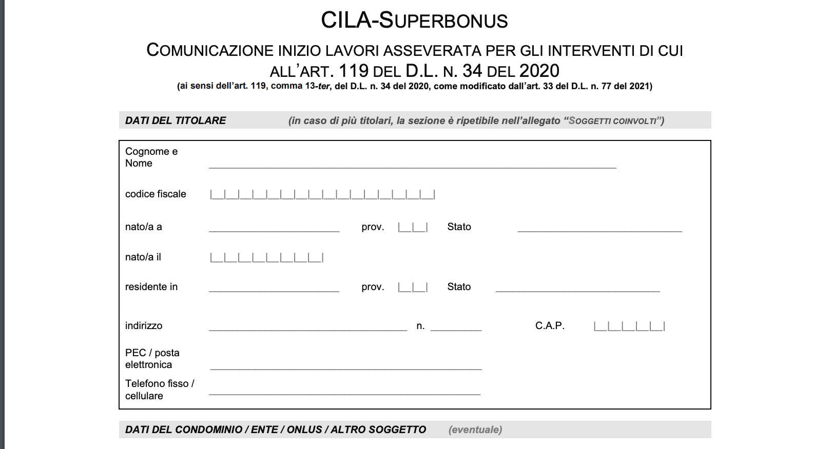 Modulo CILA-Superbonus